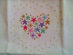 Cross stitch square for Isla I's quilt
