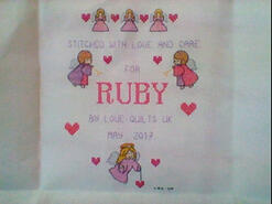 Cross stitch square for Ruby T's quilt