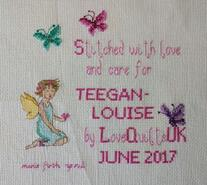 Cross stitch square for Teegan-Louise's quilt