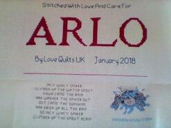 Cross stitch square for Arlo W's quilt