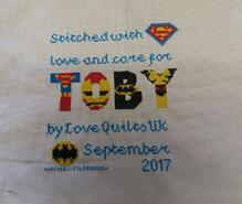 Cross stitch square for Toby N's quilt