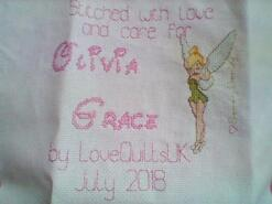 Cross stitch square for Olivia-Grace's quilt