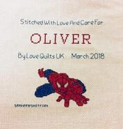 Cross stitch square for Oliver J's quilt