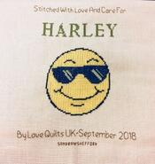 Cross stitch square for Harley W's quilt