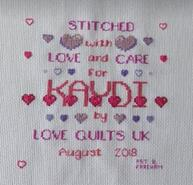 Cross stitch square for Kaydi P's quilt