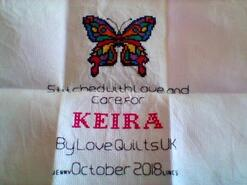 Cross stitch square for Keira A's quilt