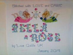 Cross stitch square for Bella-Rose P's quilt