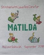 Cross stitch square for Matilda J's quilt