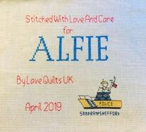 Cross stitch square for Alfie P's quilt