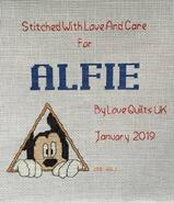 Cross stitch square for Alfie M's quilt