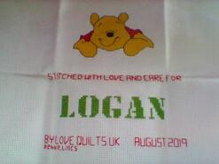 Cross stitch square for Logan C's quilt