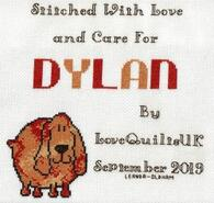 Cross stitch square for Dylan E's quilt