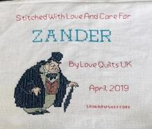 Cross stitch square for Zander S's quilt
