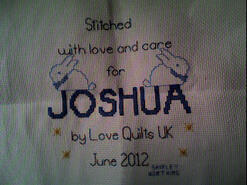 Cross stitch square for Joshua H's quilt