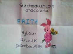 Cross stitch square for Faith F's quilt