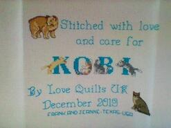 Cross stitch square for Kobi B's quilt