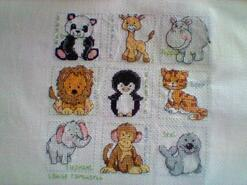 Cross stitch square for Lucas's quilt