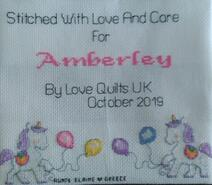 Cross stitch square for Amberley C's quilt