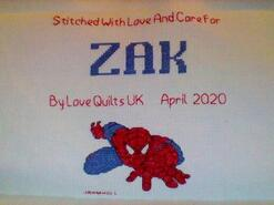Cross stitch square for Zak Y's quilt