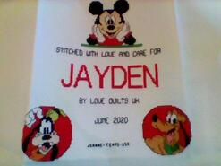 Cross stitch square for Jayden A's quilt
