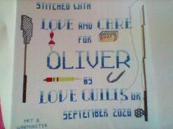 Cross stitch square for Oliver B's quilt