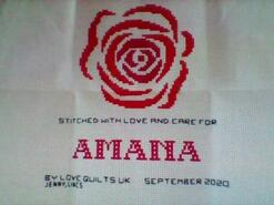 Cross stitch square for Amana J's quilt