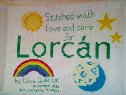 Cross stitch square for Lorcan M's quilt