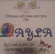Cross stitch square for Layla's quilt