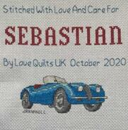 Cross stitch square for Sebastian's quilt
