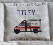 Cross stitch square for Riley M's quilt