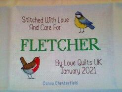 Cross stitch square for Fletcher T's quilt