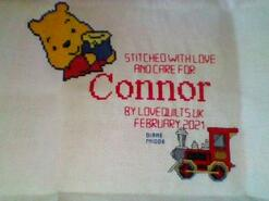 Cross stitch square for Connor R's quilt