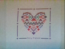 Cross stitch square for Emergency Quilt: Hearts's quilt