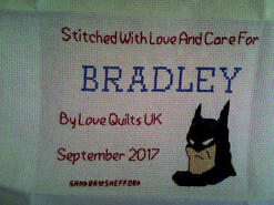 Cross stitch square for Bradley B's quilt