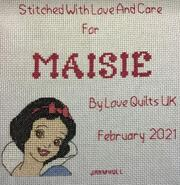 Cross stitch square for Maisie P's quilt