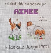 Cross stitch square for Aimee N's quilt